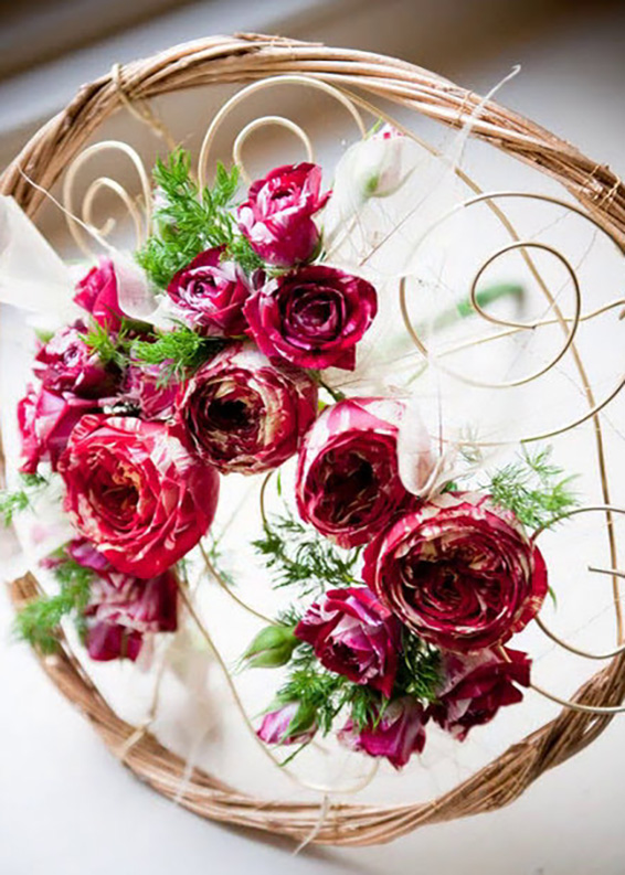 bridesmaid bouquet, contemporary, red and gold roses, skeletal leaves, caged