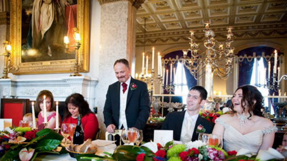Belvoir Castle dining room, wedding flowers, top table, speeches