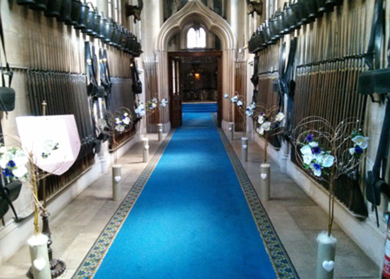 Belvoir Castle entrance hall, with free standing floral hearts