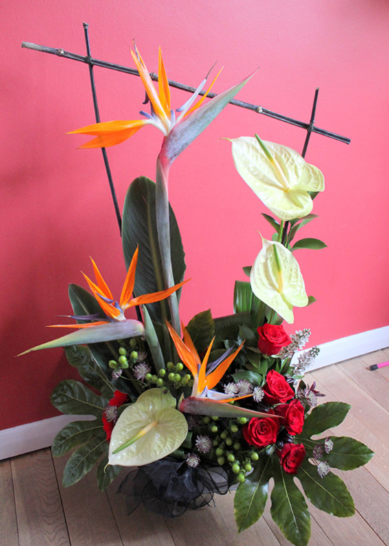 architectural,contemporary,contract arrangement, stralitzia, anthuriums, hypericum, roses