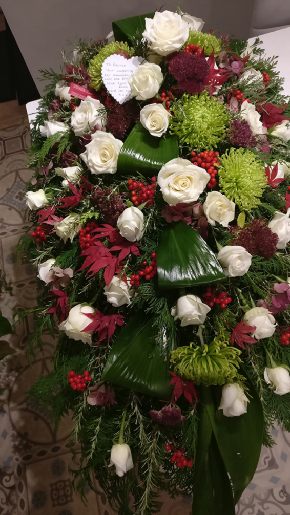 Large Coffin spray, white roses, green bloom chrysanthemums, Red maple leaves,tribute