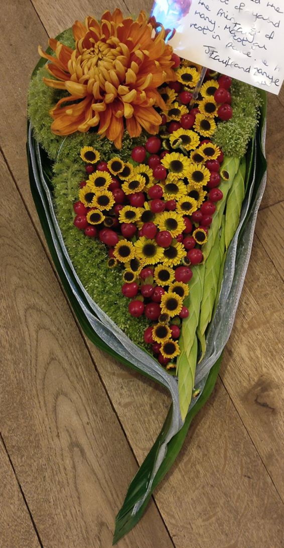 Teardrop funeral tribute, contemporary, chrysanthemums, hypericum, ribbons