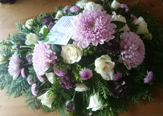 Pink and White single ended funeral spray