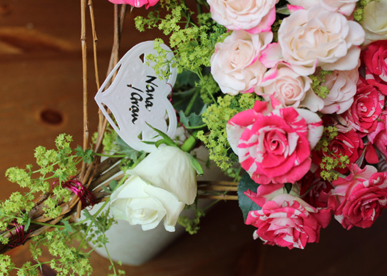 Pink and white roses funeral heart, handtied tribute, heart Memorial card