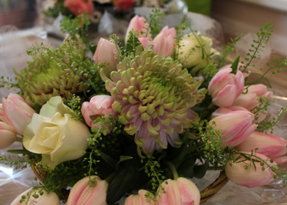 Spring seasonal, Continental bouquet with pink tulips
