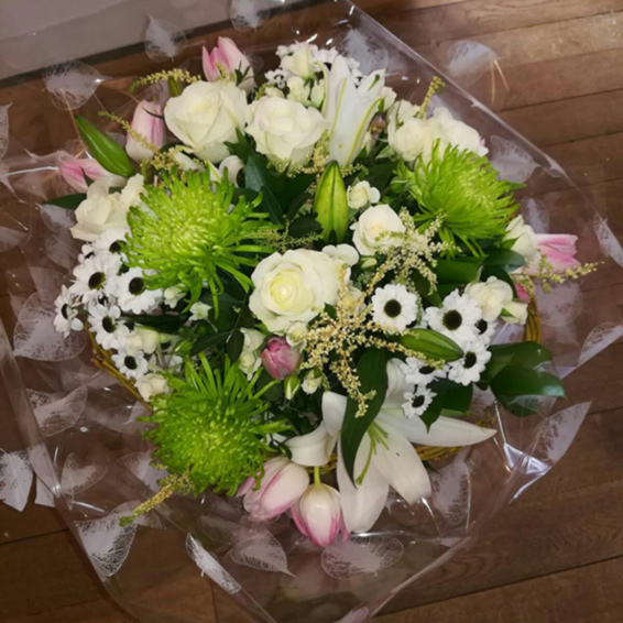 Lime green chrysanthemums, lilies, pink tulips, Seasonal bouquet