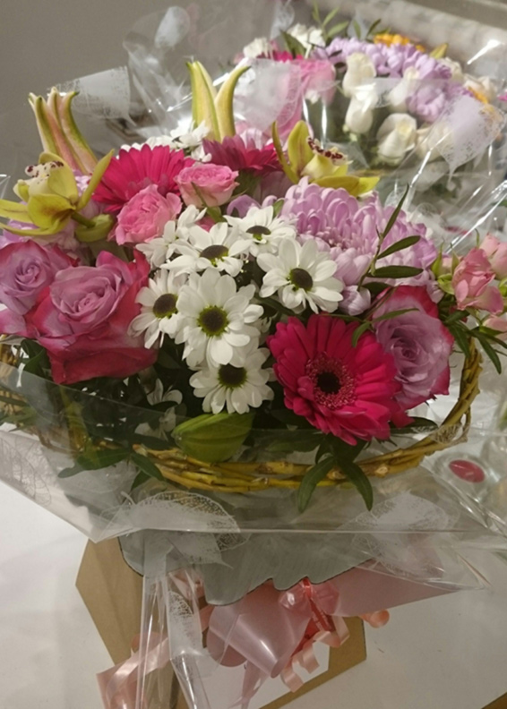 Pink rose, mixed flowers, Seasonal bouquet