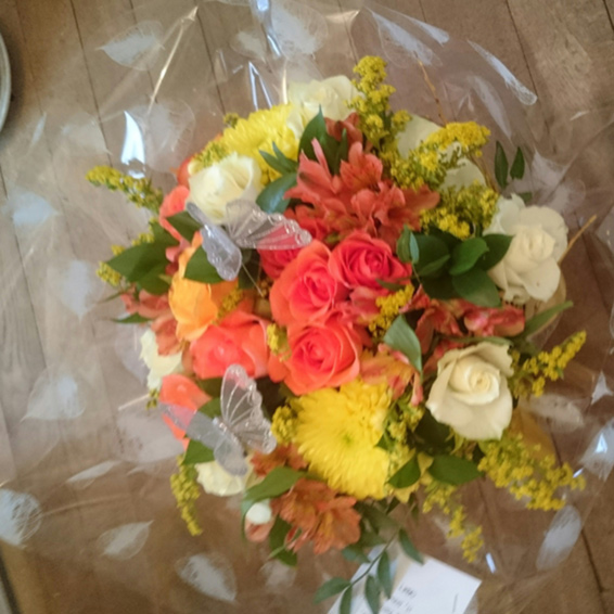 Orange and yellow, mixed flower, handtied, Seasonal bouquet, with butterflies