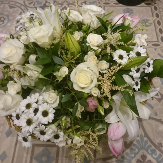 White roses, lilies, astilbe, chrysanthemums, pink tulips