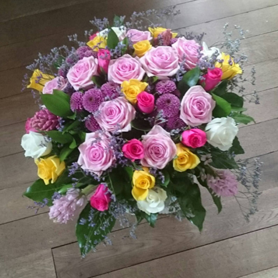 Large handtied mixed colour roses, Pink heaven,spray chrysanthemums