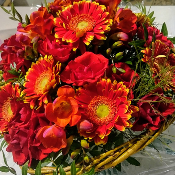 Bright red seaonsal bouquet