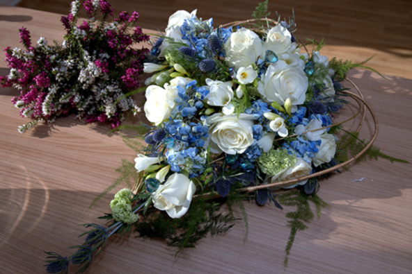 heart shape blue and white wedding bouquet, Scottish thistles and roses