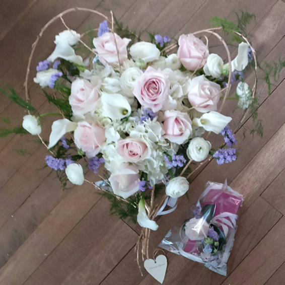 heart shaped, nude pink, lilac and White wedding bouquet and corsage